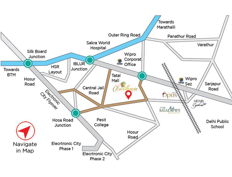 Ahad Excellencia Location Map